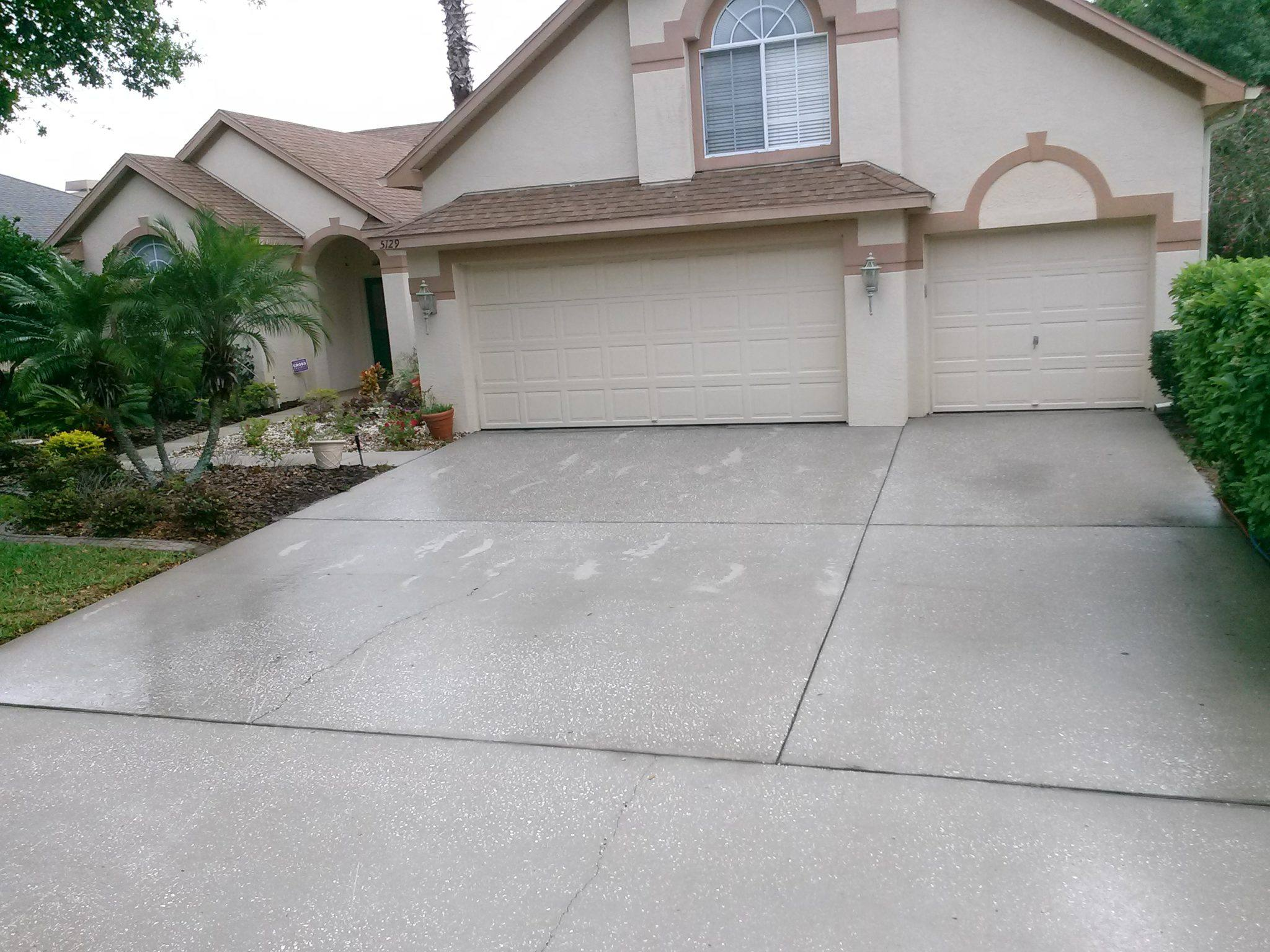 Driveway Pressure Washed Palm Harbor After Pressure