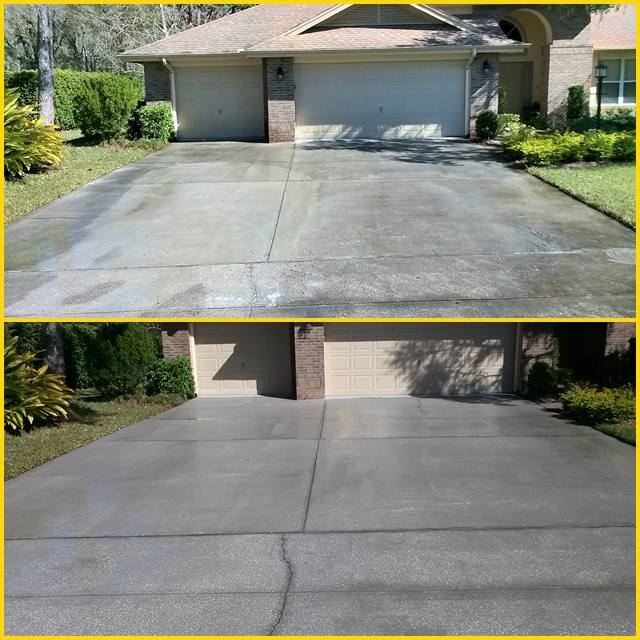 Pressure washing westchase for Best way to clean cement driveway