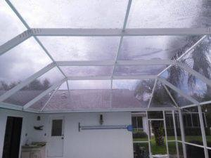 Pool cage after low pressure washing in Carrollwood