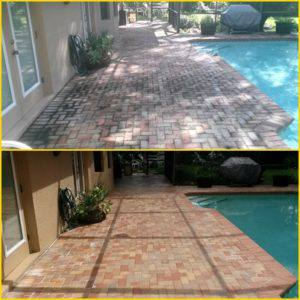 pressure washing, palm harbor, pool deck before and after