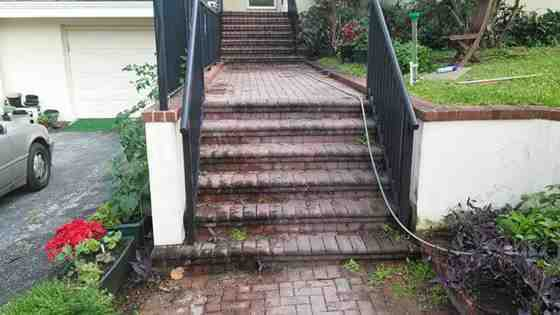 dirty paver brick steps