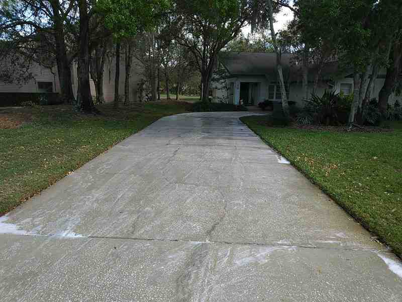 Driveway with post treatment