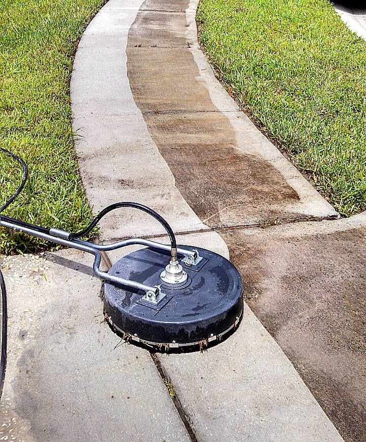 Pressure wash outdoor floor cleaning with high pressure for Pressure wash concrete patio