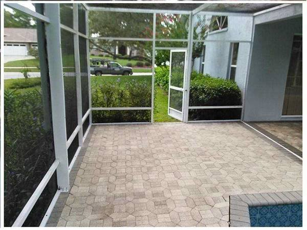 clean brick in patio